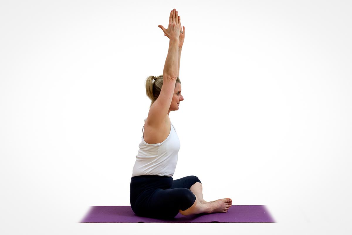 Urdhva Hastasana in Baddha Konasana - My Yoga Tutor